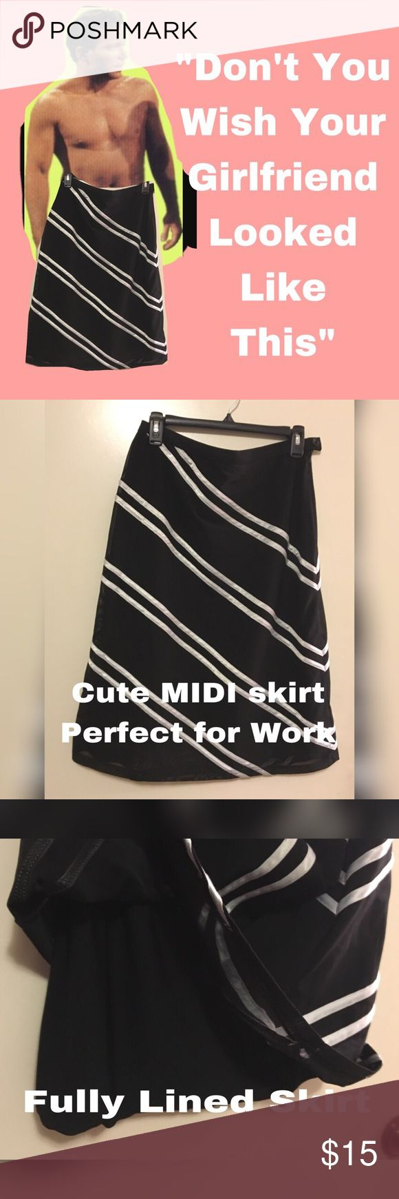 "🌺🌺 Cute Striped MIDI Skirt PERFECT for work 🌺🌺 🌺Cute Striped MIDI Skirt PERFECT for work 🌺. Diagonal strips, side zipper, A-Line skirt.  Waist: 16"" Flat, Length: 26"" long size Large.  Pair with blazer and boots for a sleek office look. Skirts Midi"