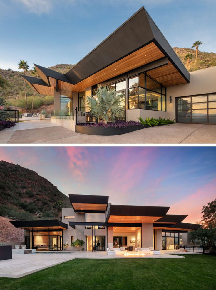 Kendle Design Collaborative have completed a home inParadise Valley, Arizona, that featuresangled ceiling planes that radiate out towards the expansive city and mountain views while also defining the various volumes of the home. #ModernArchitecture #ModernHouse