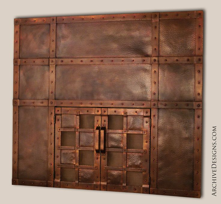 Hammered Fireplace Doors : Hammered copper fireplace doors and surround by archive