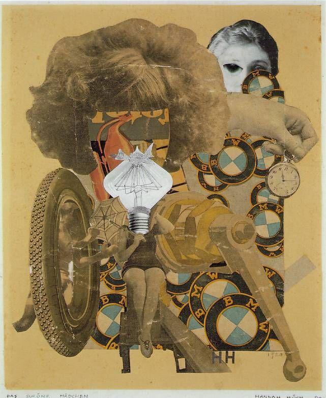 das shöne Mädchen 1920, im schwarzen Trikot, winzig klein hockt das shöne Kind hilflos z. BMW markenzeichen, Pleuelstangen, Auto reifen, wenig geschützt von einem Regenschirm. Der Kpf des Mädchens besthet aus eine Gllübirne, die allerdings wenig Erleuchtung verheisst darüber wölbt sich Riesenberg von haaren. Ein Hand hält eine altväterliche Taschenuhr ins Bild, indes im Hintergrun eine ernst dreinblickende zweite Frau sichbar wird. Gertrud Jula Dech