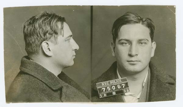 Police Department, City of New York black and white mug shots of Abraham Glass, alias Cherry Nose (1934).