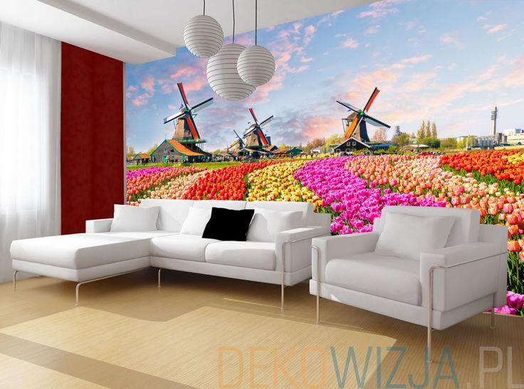 Fototapeta do salonu z motywem Pola tulipanów pod wiatrakami