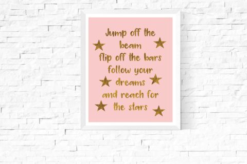 Gymnastics Quote Art Printable | https://www.vivabop.co.uk/products/gymnastics-quote-art-printable