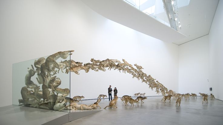 Cai Guo-Qiang: I Want to Believe.     *not real wolves, but 99 paper mache replicas and painted faux fur.