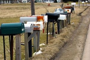 Mail boxes in a field