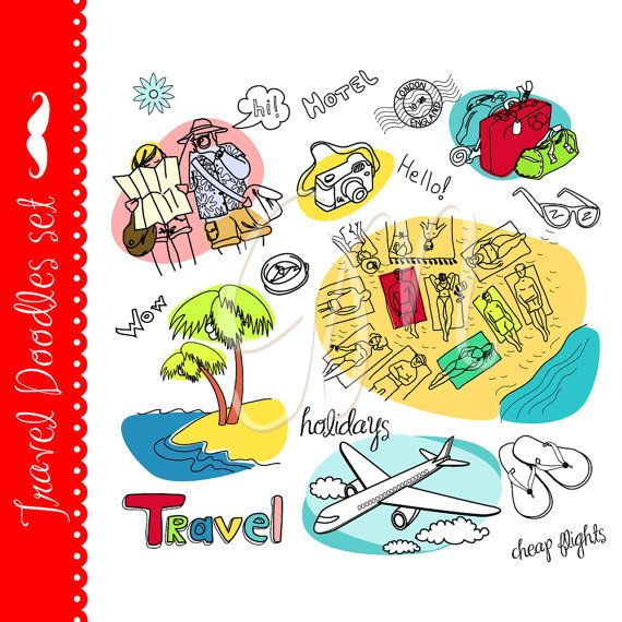 Travel clip art, vacation, tourism, airplane, map, adventures, summer,  sea and beach digital clipart for card making and scrapbooking via Etsy