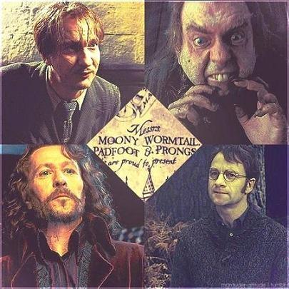 Moony. Wormtail. Padfoot & Prongs (aka Remus Lupin, Peter ...