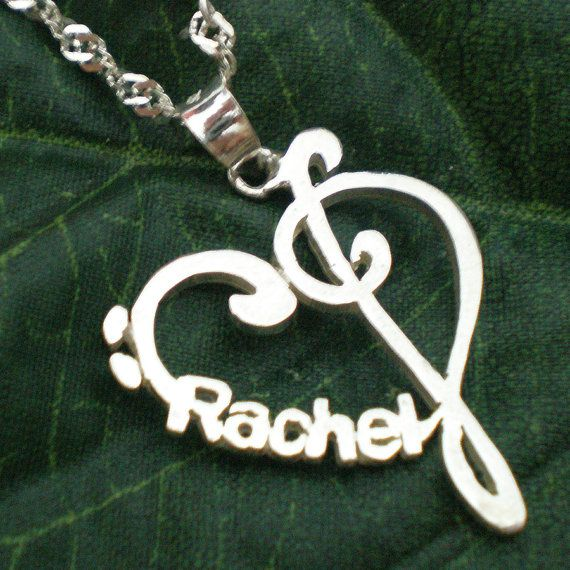 Personalized Name Music Heart Love Necklace by yhtanaff on Etsy, $78.00 #valentine #music #jewelry