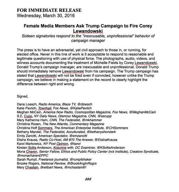 Conservative Female Journalists Call on Trump on Fire Corey Lewandowski