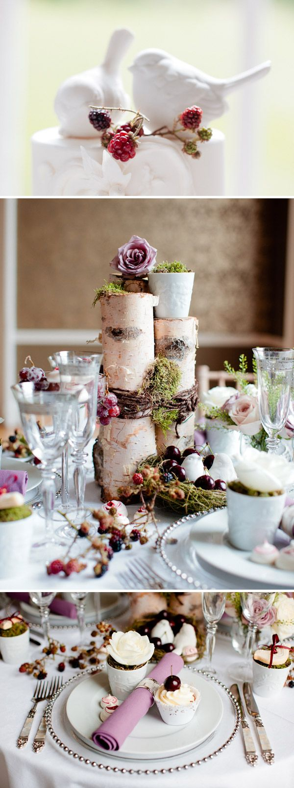 Autumn wedding inspiration Blackberries and bark... such a beautiful combination. For more inspiration visit www.raspberrywedding.com