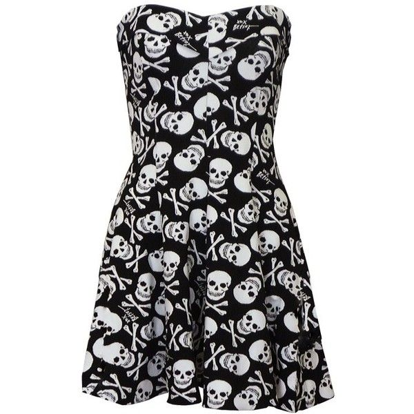 Betsey Johnson Skull Fit n Flare Dress ($285) ❤ liked on Polyvore featuring dresses, vestidos, short dresses, dresses/skirts, short flare dress, black skater skirt, strapless dress, black flared skirt and mini dress