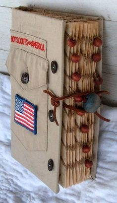 up cycled boy scout theme scrapbook / photo album / by 0namesleft