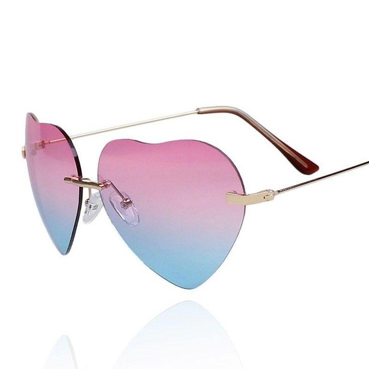Vintage Retro Fashion Lolita Heart Shaped Frame Aviator Metal Women Sunglasses