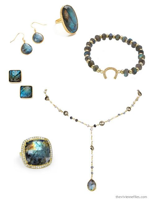 laboradorite jewelry set in gold to accent a capsule wardrobe