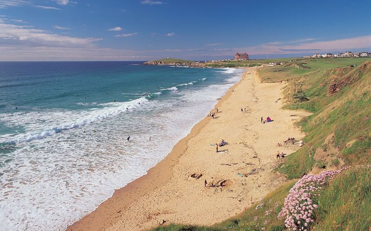 Fistral Beach, Newquay, Cornwall. Newquay's beaches (there are 11 in all) are among the finest in Britain. Fistral is typically populated by teenagers and surfers.