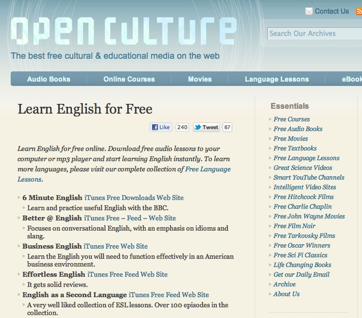 A collection of free online listening resources/courses published by Open Culture. Check these out!!!