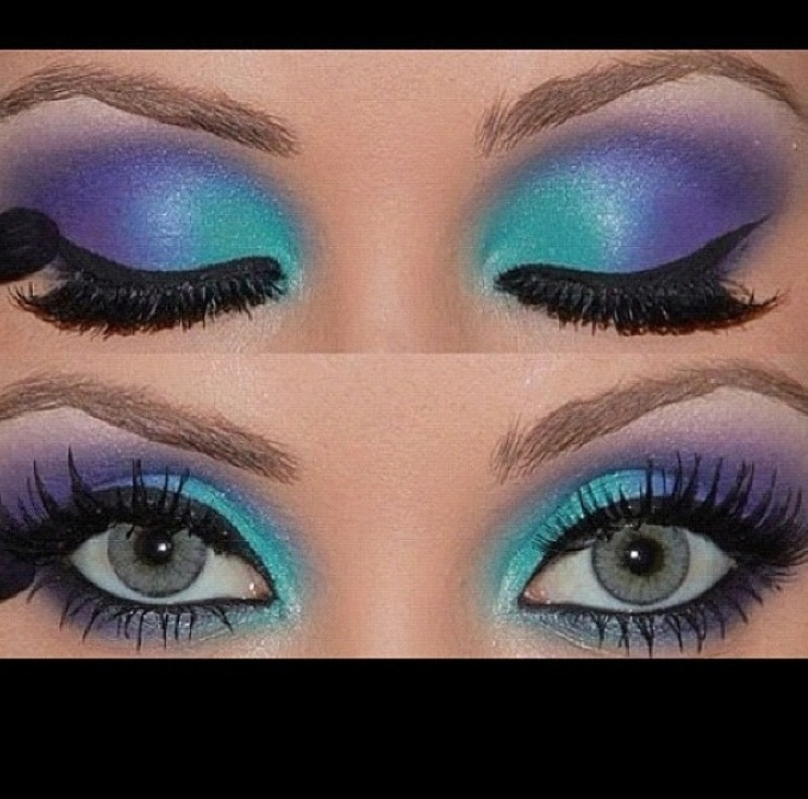 Blue and purple pageant makeup.
