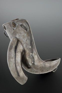 Male anti-masturbation device, United Kingdom, 1871-1930. Worn beneath the clothes, this device was hooked onto a waistband and covered the penis and testicles.