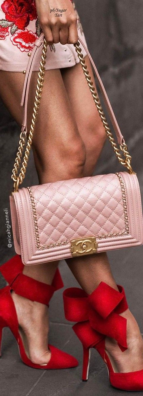 Pink chanel bag with red shoes