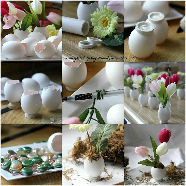 Reuse egg shells for mini vases #upcycle