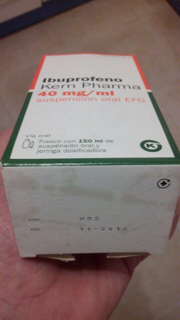Sanidad ordena retirar el lote de ibuprofeno para niños de Kern Pharma H05