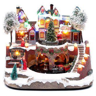 Villaggio natalizio con trenino in movimento 25x25x20 cm