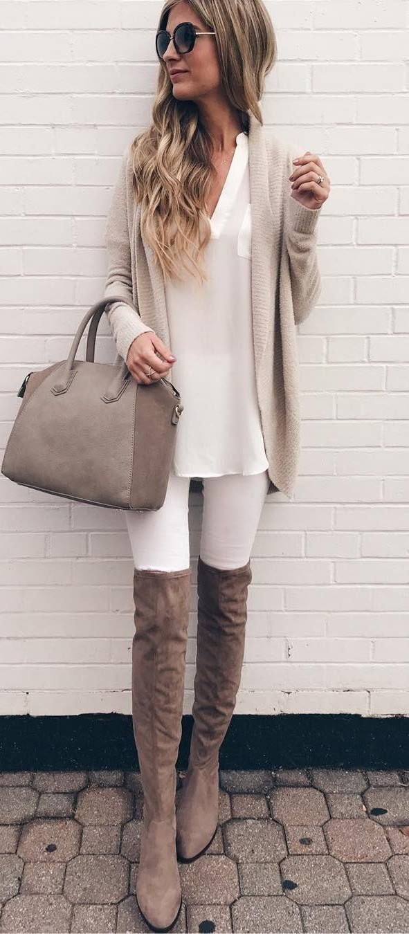 nude palettes / bag + over the knee boots + cardi + rips + top