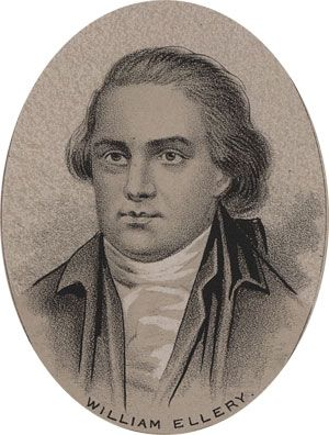 William Ellery began to practice law in 1770. He was active in the Rhode Island Sons of Liberty, and was sent to the Continental Congress in 1776 to replace Samuel Ward, who had died. He was immediately appointed to the Marine committee and later participated in several others including the committee for foreign relations. Meanwhile he held the office of judge of the Supreme Court of Rhode Island. In 1785, he became a strong and vocal advocate for the abolition of slavery.