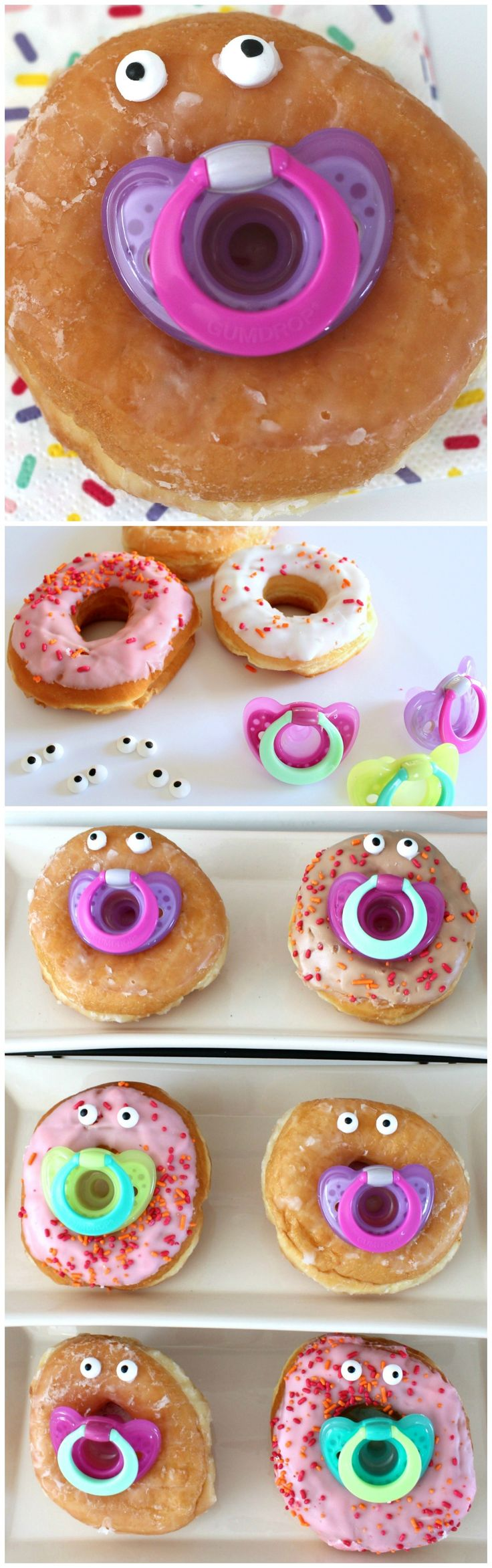 DIY Pacifier Baby Donuts ~ Display these at your next baby shower and you are guaranteed lots of smiles and laughs from party guests.