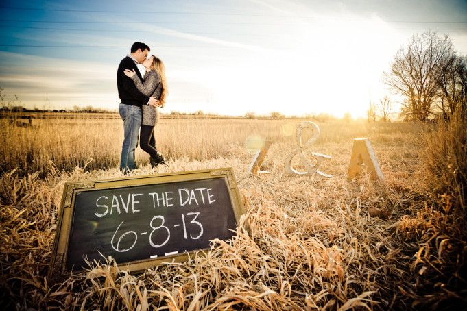 rustic save the date engagement photo with diy chalkboard sign by Elevate Photography