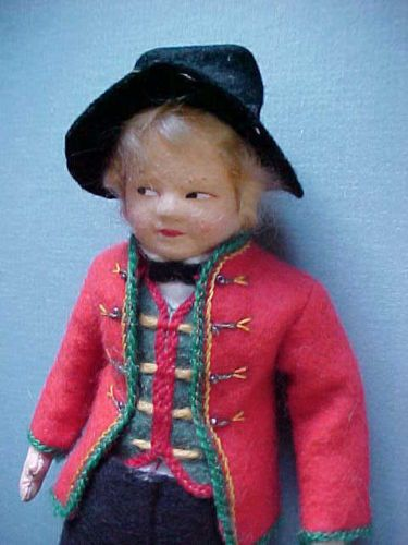 Antique-Cloth-Doll-RONNAUG-PETTERSSEN-Norwegian-Costume-BOY-Doll-with-BOX-NORWAY