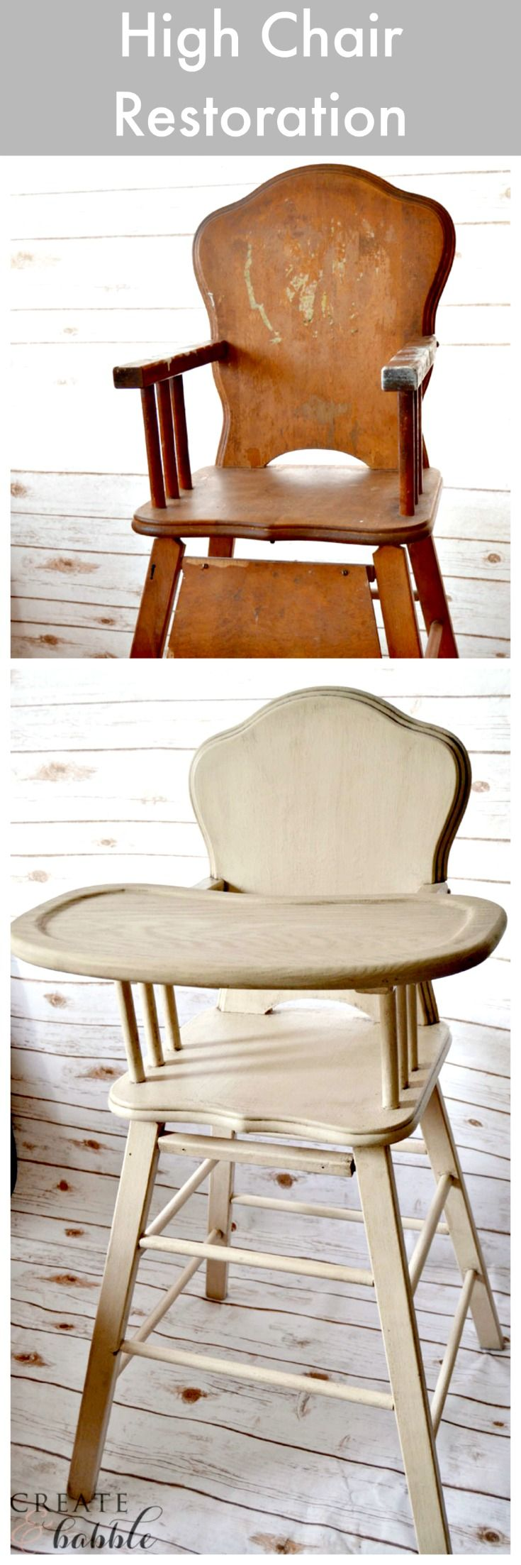 Painted wooden high chairs - I Restored My Old High Chair With Products From The Amy Howard At Home Line