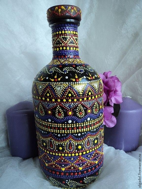 Бутылка декоративная. Точечная роспись - бутылка,бутылка декоративная