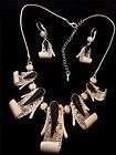 NEW - Silvertone & Black Curled Suspended Fringe NECKLACE & EARRINGS SET
