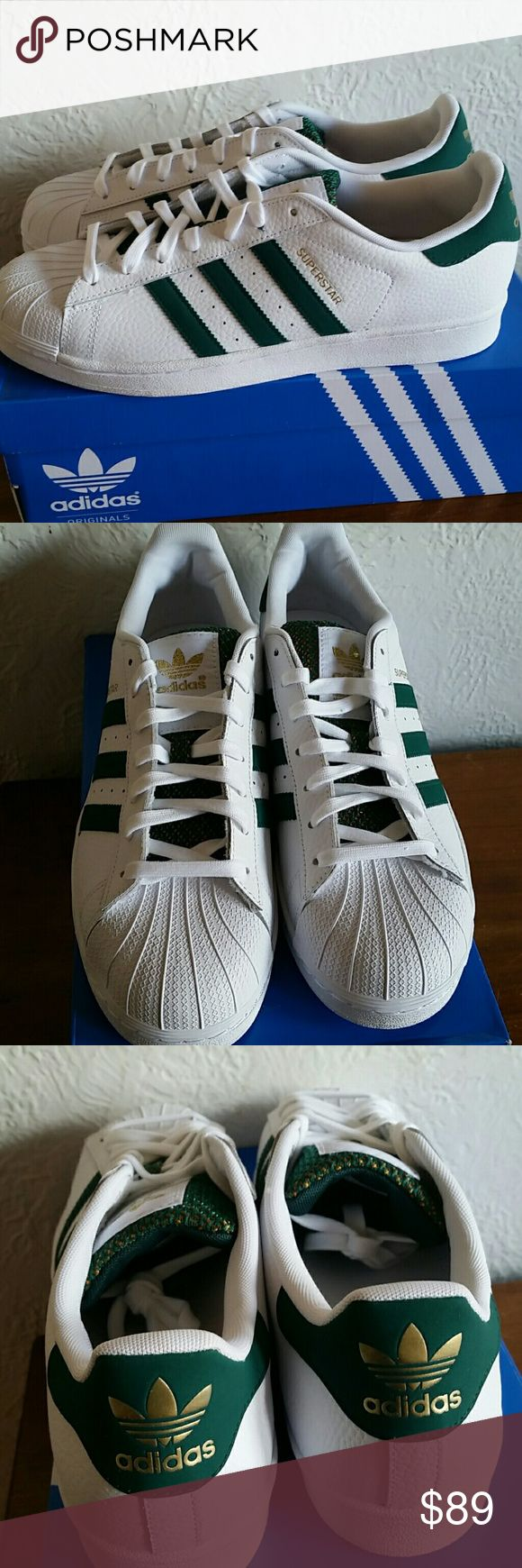 Nwt mens adidas superstar green size 9,5 Brand new with the tag  Size 9,5 for mens Adidas superstar green and gold  Price is firm Hardly find adidas green and gold Adidas  Shoes Sneakers