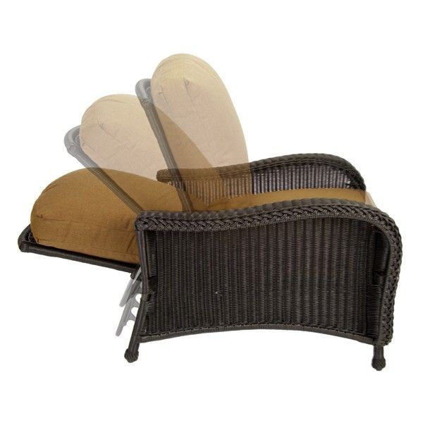 Reclining Outdoor Patio Furniture | Classic Wicker Reclining Lounge Chair  With 3 Position Back