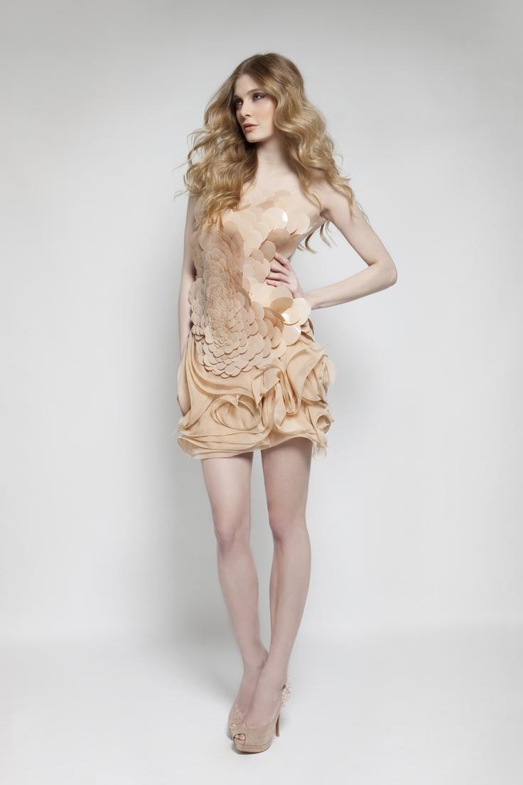 Tule & Silk Chiffon Short Dress With Oversized Sequins.