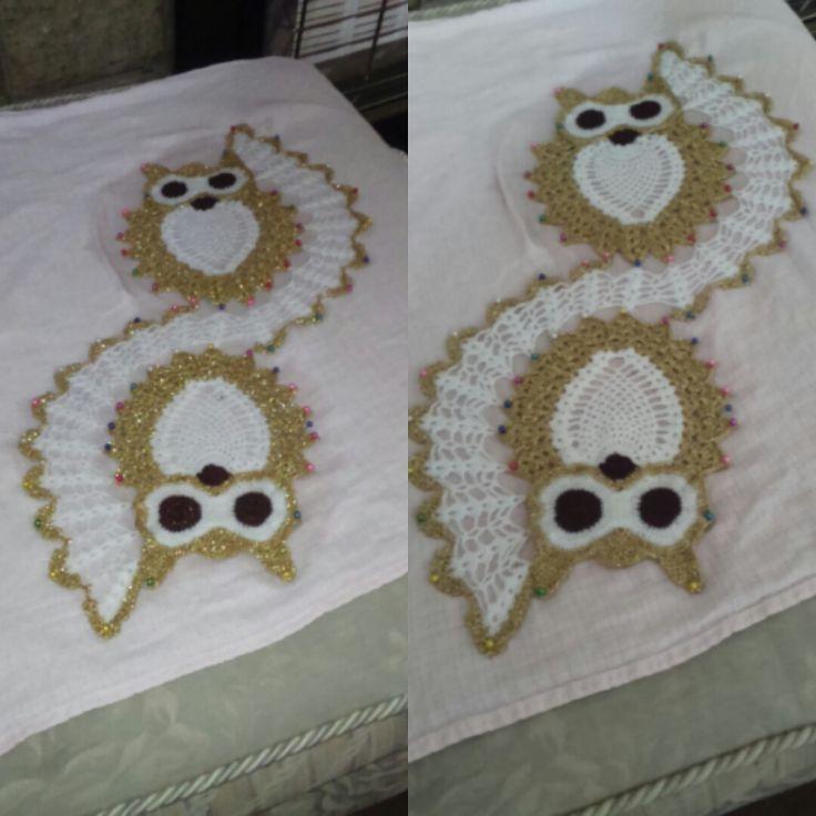 crochet owl doily