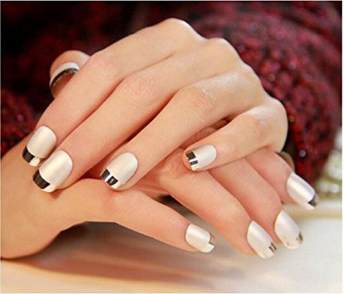 24Pcs 12 Different Size Short Full Bordeaux Metal Frosted False Nail Turnover French Style Artificial Nails ** Continue to the product at the image link.