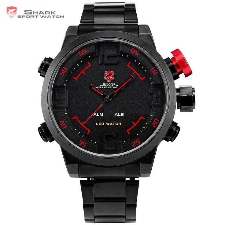 gulper shark Watch Sport Digital LED Men's Top Brand Luxury Black Red Quartz #SHARKSPORTWATCH #Sport