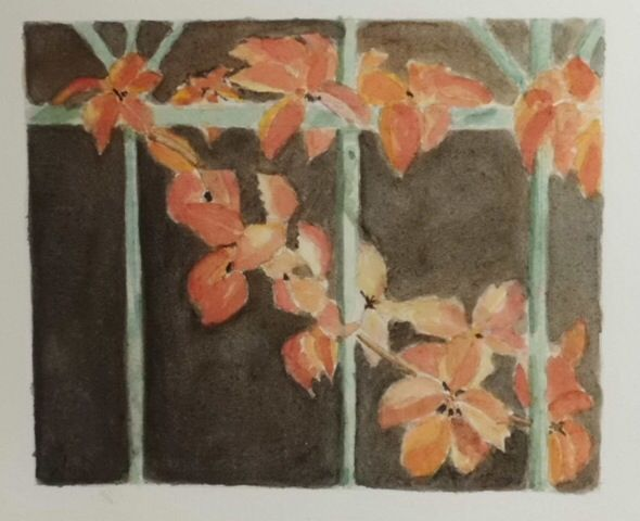 Fence with leaves.      Watercolor.          Signed by Wilma                                     www.werkvanwilma.nl