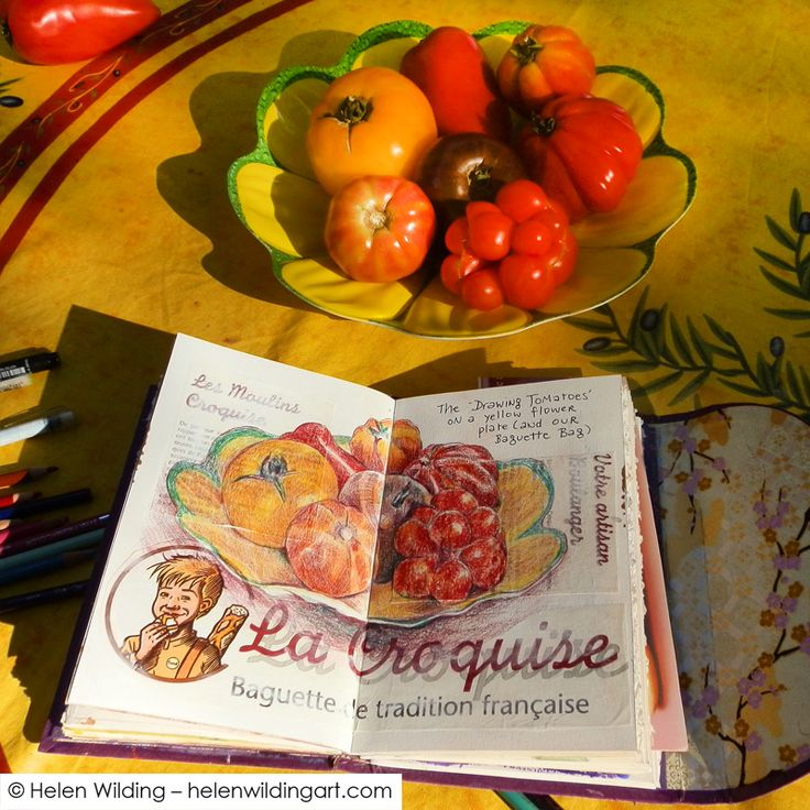 Sketching in France - baguettes and tomatoes - Helen Wilding Art