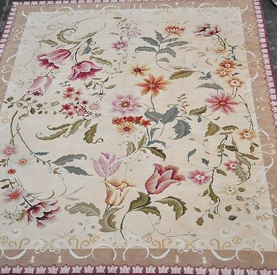 8 X10 Handmade Hand Knotted New Weave Hi Low Aubusson Wool Botanical Area