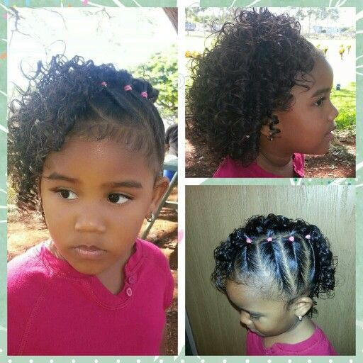Side twists with curls. Mixed babies hairstyles