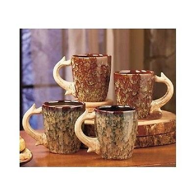 Coffee Mugs Cups Antler Country Rustic Lodge Deer