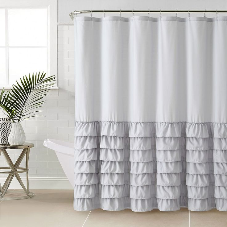 Vcny Melanie Ruffle Shower Curtain, Grey