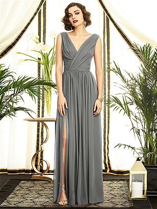 Long gray chiffon bridesmaid dress by The Dessy Collection Style 2894. Find this dress and more at The Bridal Suite 850-494-9989.  http://www.dessy.com/dresses/bridesmaid/2894/