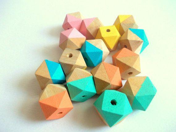 Neón geométricas mezcla madera granos, granos de madera pintados a mano, joyería geométrica del verano, hacerlo usted mismo geométrica collar