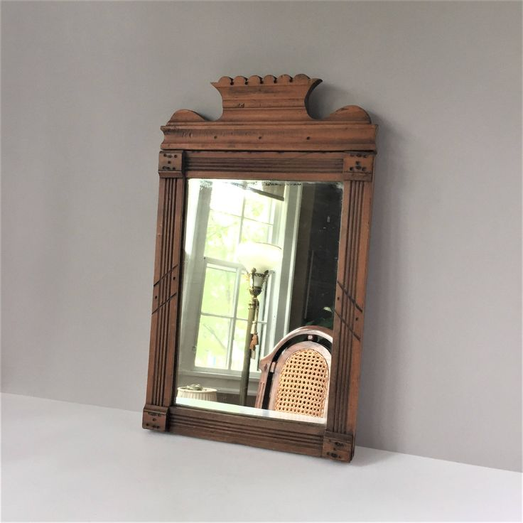 Antique Mirror, Eastlake Style Wall Mirror, Wood Frame Mirror, Rectangular Mirror, Brown Frame Looking Glass, Foyer Decor by AlegriaCollection on Etsy