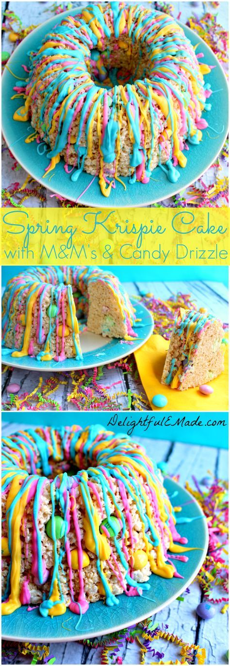 The perfect spring or Easter treat! Simple krispie treats are turned into a pretty spring snack using a bundt pan and a few other goodies!